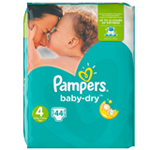 Pampers Baby-Dry Géant 8-16kg Taille 4 x44 à 12,69 €