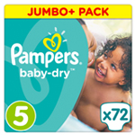Pampers Baby-Dry Jumbo+ 11-23kg Taille 5 x72