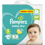 Pampers Baby-Dry Mega 11-23kg taille 5 x74 à 24,65 €