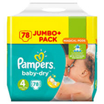 Pampers Baby-Dry Jumbo 8-16kg taille 4 x78 à 22,00 €