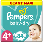 Pampers Baby-Dry 10-15kg taille 4+ x84 à 26,90 €